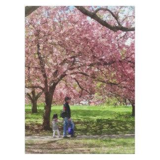 Apreciando as árvores de cereja toalha de mesa