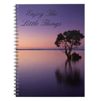 Aprecie o caderno pequeno das coisas
