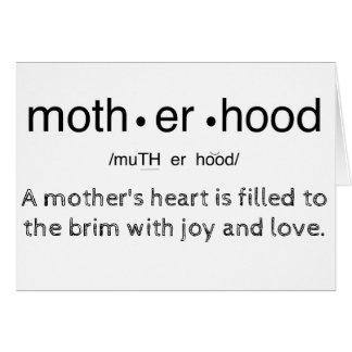 Aprecie o cartão da mamã