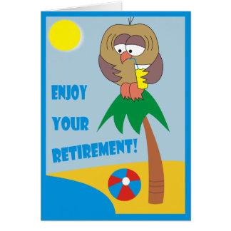 Aprecie sua aposentadoria! Coruja nos cartões da