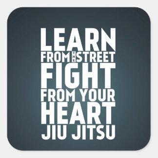 Aprenda do preto de Jiu Jitsu da rua Adesivo Quadrado
