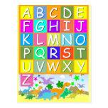 Aprenda seu ABC com alfabeto dos dinossauros Cartões Postais