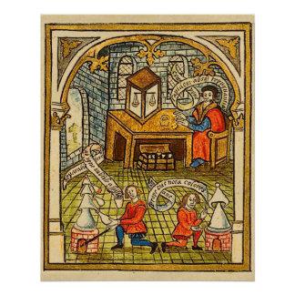 Aprendizes em um laboratório medieval poster perfeito