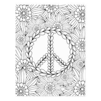 Apronte para colorir - paz e colorir das flores cartão postal