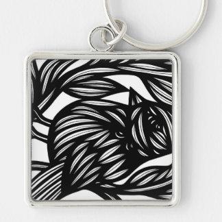 Aptidão pafável perfeita engraçada chaveiro quadrado na cor prata