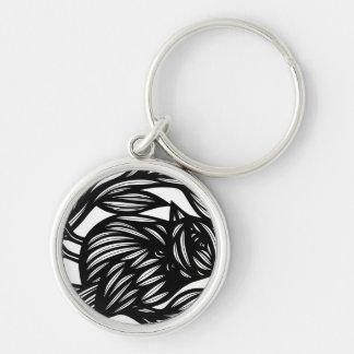 Aptidão pafável perfeita engraçada chaveiro redondo na cor prata
