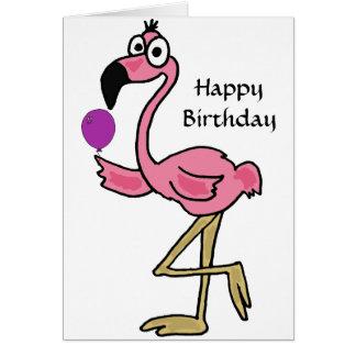 AQ- cartão de aniversário engraçado do flamingo