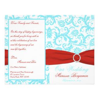 Aqua, branco, e programa vermelho do casamento tem flyer 21.59 x 27.94cm