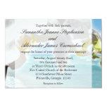 Aqua/convite branco do casamento de praia da