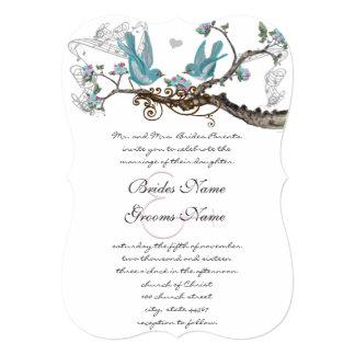 Aqua cortado do Lovebird & convite de casamento