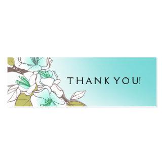 Aqua de florescência do Tag do presente das flores Cartão De Visita Skinny
