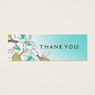 Aqua de florescência do Tag do presente das flores Cartão De Visitas Mini