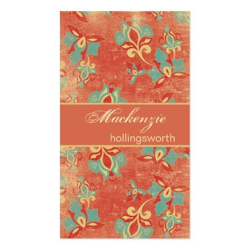 Aqua do vintage e cartão de visita floral da tange