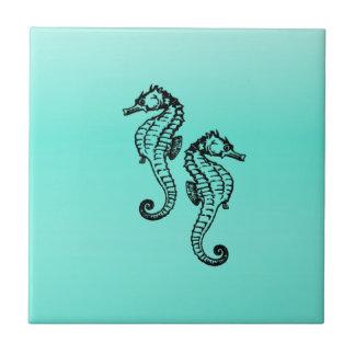 Aqua dos cavalos marinhos azulejo quadrado pequeno