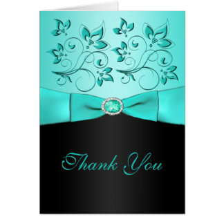 Aqua e cartões de agradecimentos II florais do