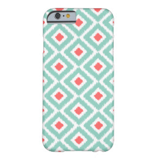 Aqua e diamantes corais de Ikat Capa Barely There Para iPhone 6