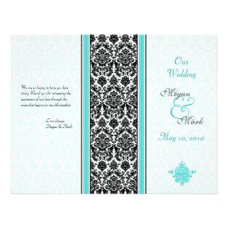 Aqua e programa preto do casamento tema damasco panfletos personalizado