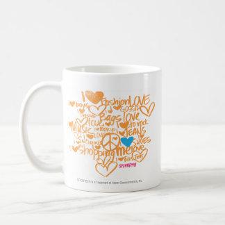 Aqua/laranja dos grafites caneca de café