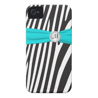 Aqua Monogrammed, preto, zebra branca listrada Capinhas iPhone 4