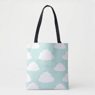 Aqua personalizado das nuvens teste padrão branco bolsa tote