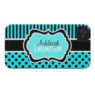 Aqua personalizado, preto, bolinhas listradas capa para iPhone