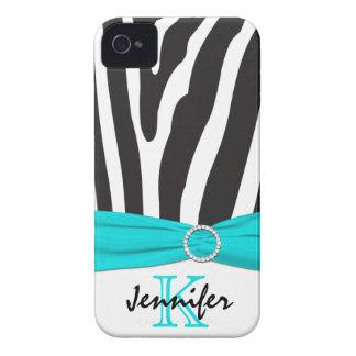 Aqua personalizado, preto, zebra branca listrada capa para iPhone