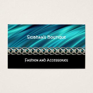 Aqua, preto & cartão de visita chain da prata