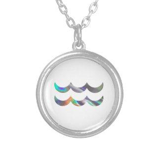Aquário do holograma colar banhado a prata