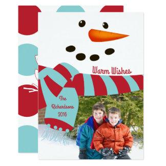 Aqueça desejos, cartão com fotos do boneco de neve