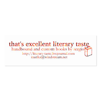 Aquele é gosto literário excelente cartão de visita skinny