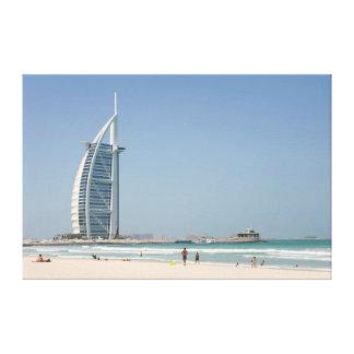 Árabe do Al de Burj da praia do por do sol, Dubai Impressão Em Tela