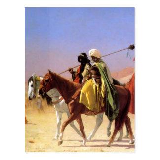 Árabes que cruzam o deserto por Jean-Leon Gerome Cartão Postal