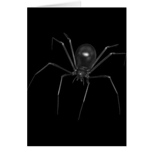 Aranha 3D assustador preta grande Cartoes