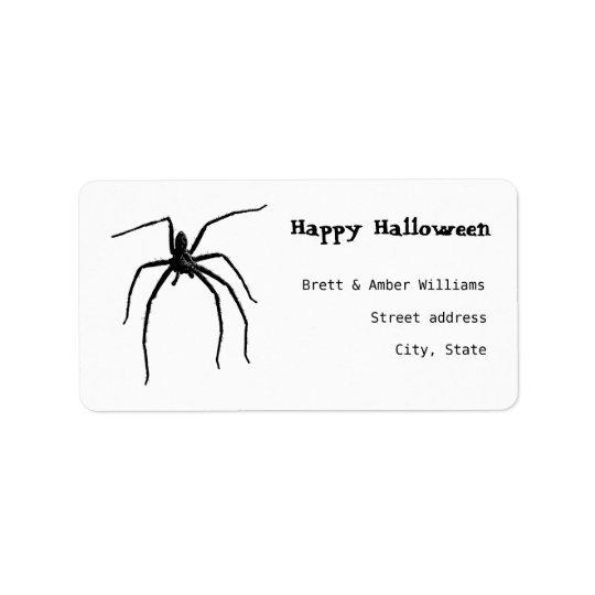 Aranha grande assustador do Dia das Bruxas Etiqueta De Endereço