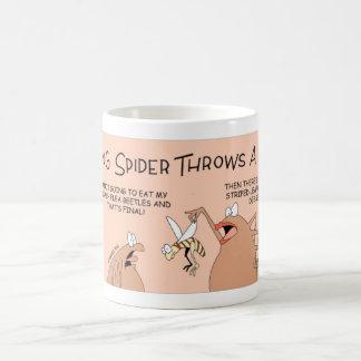 Aranha nova que não comerá seu comensal caneca de café