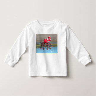 aranha vermelha da luva longa do tshirt