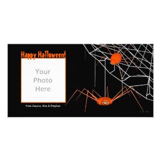 Aranhas alaranjadas do Dia das Bruxas Cartao Com Foto Personalizado