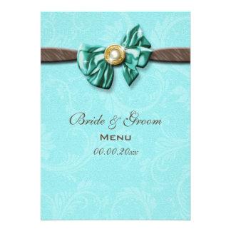 Arco azul da gema do marrom do aqua floral convites personalizado