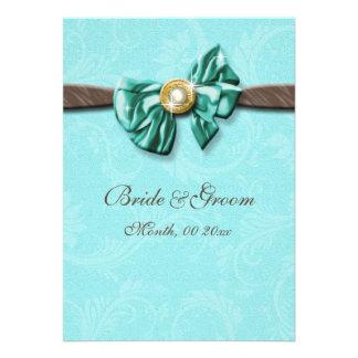 Arco azul da gema do marrom do aqua floral convites