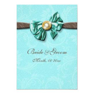 Arco azul da gema do marrom do aqua floral convite 12.7 x 17.78cm