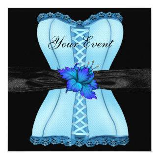 Arco azul preto da flor do espartilho convite quadrado 13.35 x 13.35cm