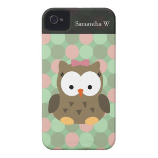 Arco bonito da coruja w/Pink de Brown Capa Para iPhone 4 Case-Mate