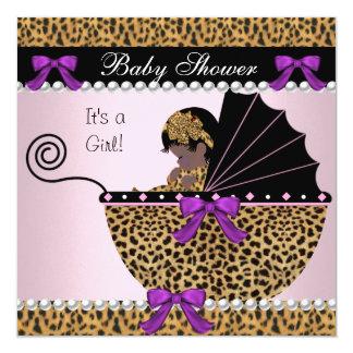 Arco bonito do leopardo do rosa do bebé de 2 chás convite quadrado 13.35 x 13.35cm
