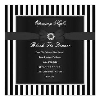 Arco branco da listra do preto formal do comensal convite quadrado 13.35 x 13.35cm