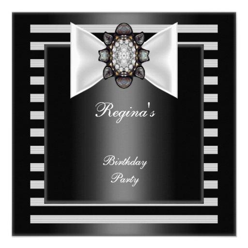 Arco branco preto da listra da festa de aniversári convites personalizado