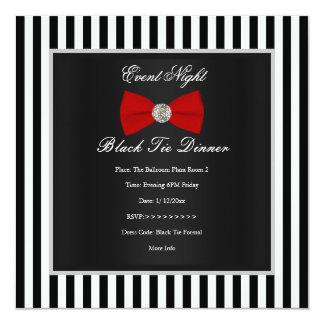 Arco branco preto vermelho formal da listra do convite quadrado 13.35 x 13.35cm