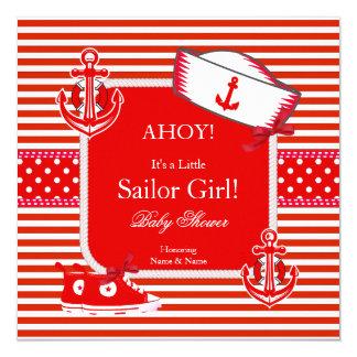 Arco branco vermelho da listra da menina do convite quadrado 13.35 x 13.35cm