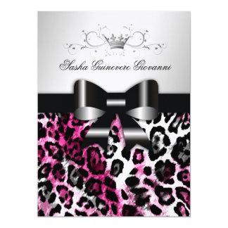 Arco chique do leopardo do rosa 311 quente convites personalizados