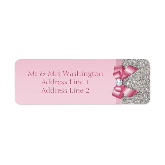 Arco cor-de-rosa do diamante dos Sequins de prata Etiqueta Endereço De Retorno