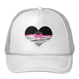 Arco cor-de-rosa listrado personalizado da zebra boné
